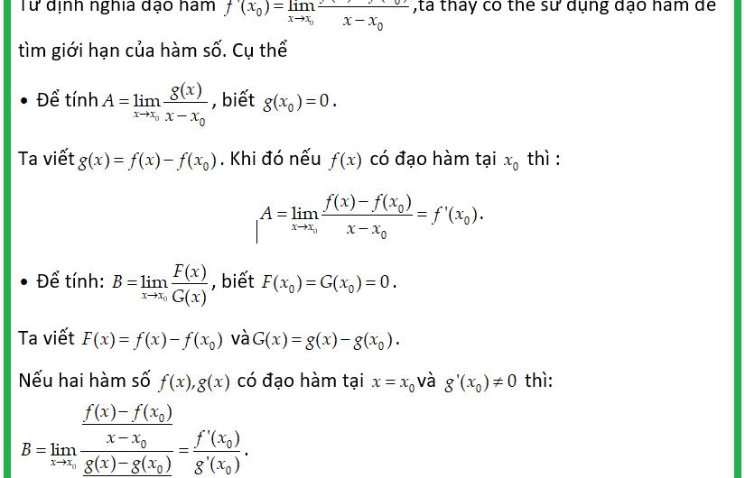 Tìm giới hạn hàm số bằng đạo hàm